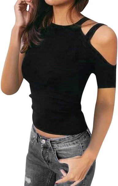 Color sólido Camiseta de Mujer, Honestyi Blusa de Hombro sin Tirantes Casual T-Shirt de Verano Sexy Blusa de O-Cuello Camisa de Manga Corta Camisola Abrigo Sudadera con Capucha Chaleco: Amazon.es: Ropa y