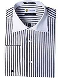 Men's Slim Fit French Cuff Striped Dress Shirt