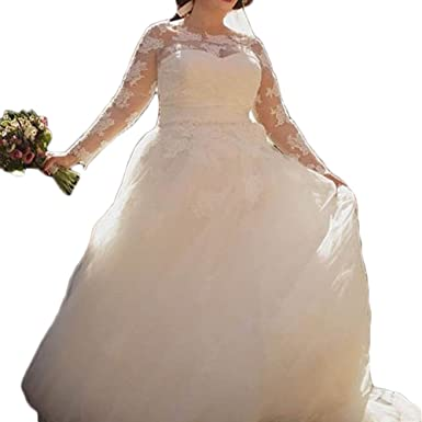 Liliesdresses Women S Big Wedding Dress With Sleeves Applique Lace