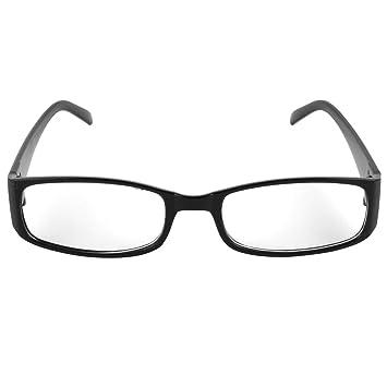 Amazon.com: uxcell Men Women Black Plastic Full Rim Frame Clear Lens ...