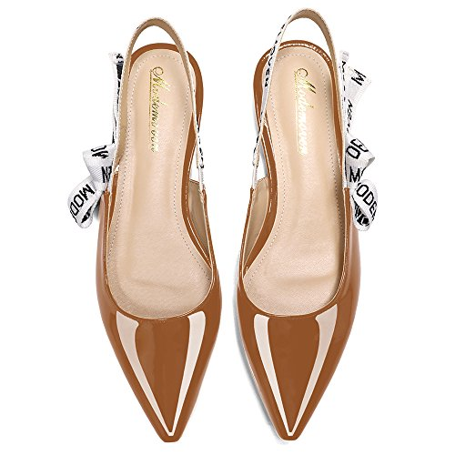 On Flat Brown Mules Women's Sling Pumps for Loafers Sexy Patent Leather Back Shoes Women Modemoven Ballet Slip nAwFpxFq