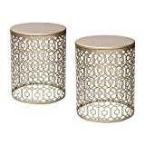 Cheap Adeco Web Pattern Nesting Side Table Set (2 Pcs)-Gold, Gold