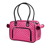Betop House Mirror Surface Faux Leather Tote Purse Dog and Pet Carrier Travel Bag, Pink