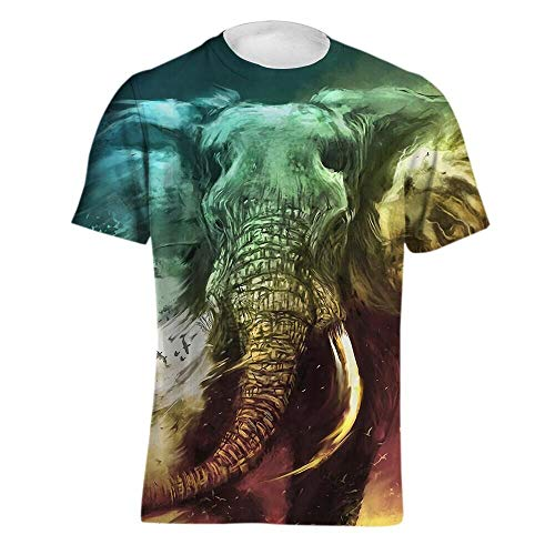 - HZYDDZSWLTD Men's Personality 3D Printed T-Shirt,Elephant, Printing Short Sleeve Fashion Tee