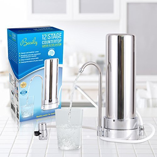 Countertop Water Purifier by Basily - 12 Stage Purification Process - High Capacity and Eco-friendly Design - Easy DIY Installation - Package includes 5 FREE Sediment Filters by Basily