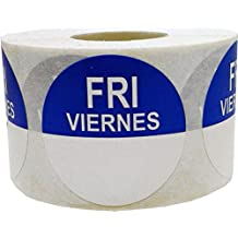 "Friday Viernes Day Dots Food Rotation Labels English Spanish Writable Day of The Week Stickers Large 1.5"" Inch Round 1,000 Total Adhesive Cold Temp Labels Great Restaurant Labels to Use in Kitchen"