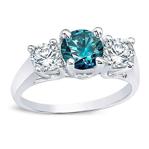 18k Gold Round-cut Three-Stone Blue Diamond Engagement Ring (2 cttw, Blue, H-I, I1-I2) Size 4-9