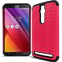 "Asus Zenfone 2 Case, CoverON® [Aurora Series] Cute Rhinestone Bling Studded Hybrid Diamond Cover Skin Phone Case For Asus Zenfone 2 (5.5"") - Hot Pink & Black"