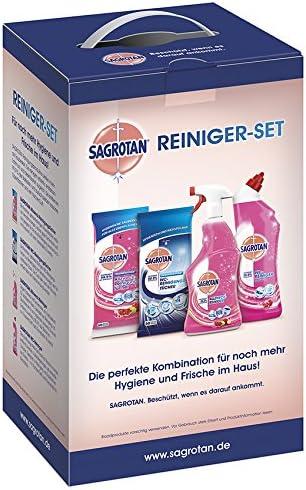 Sagrotan Reiniger Set Desinfektionsmittel – WC Reiniger, Allzweck Reiniger, WC Tücher, Allzweck Tücher – 1 x 4 Desinfektionsprodukte im praktischen