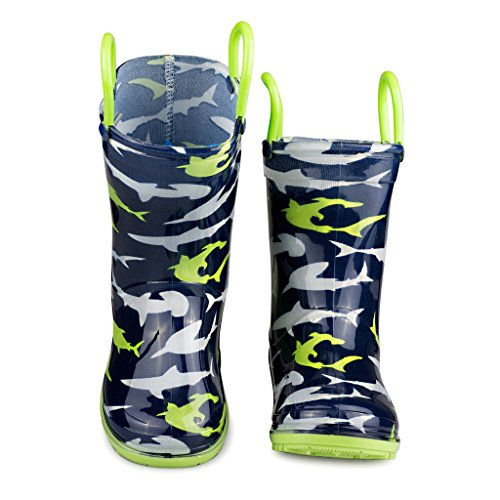 [SBR902-SHK-T5] Chilipop Rainboots for Boys, Girls & Toddlers – Fun Kids Prints, Pull On Handles (Cheap Cowgirl Boots Under 20)