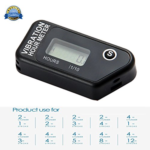 Resettable Vibration Hour Meter Wireless for All Vibrating Machine Motocross Marine Motorcycle Snowmobil ATV Boat Generators Tractor Lawn Mower Black 016B