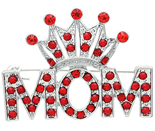 Soulbreezecollection Queen Princess Tiara Heart Mother's Day Mom Pin Brooch Gift Charm (Red)