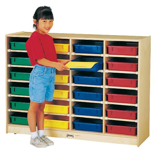 24 Paper-Tray Cubbie With Colored Paper-Trays - School & Play Furniture