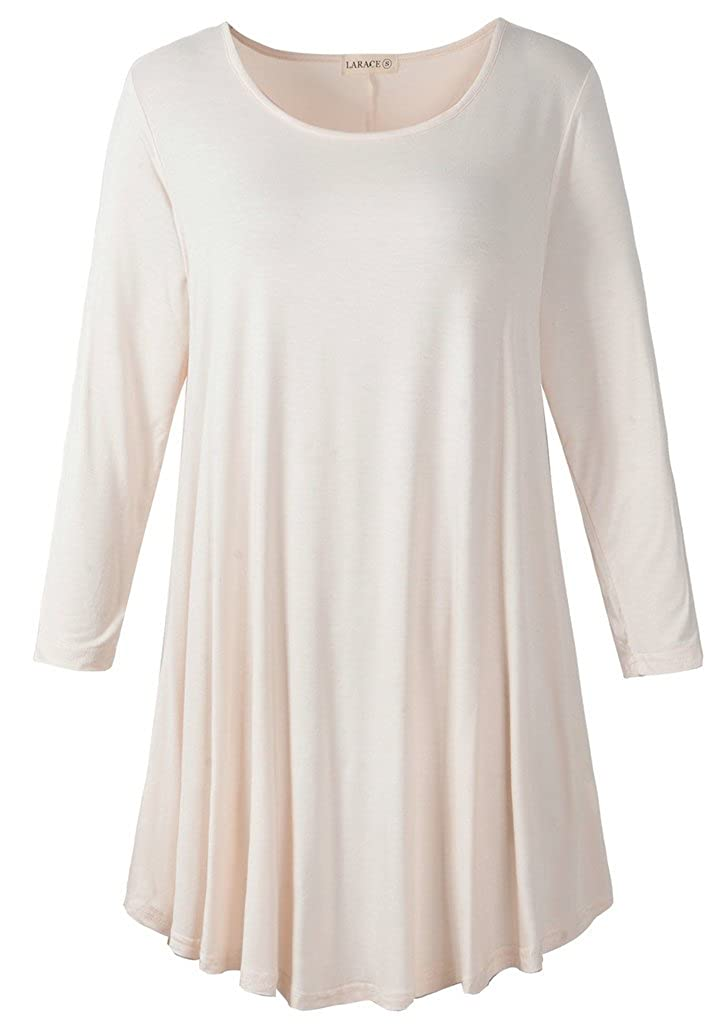 Beige LARACE Women 3 4 Sleeve Tunic Top Loose Fit Flare TShirt