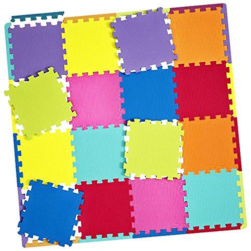 Foam Play Mat 16 Giant Interlocking Floor Tiles 32 Borders Kids Puzzle Bright Colors