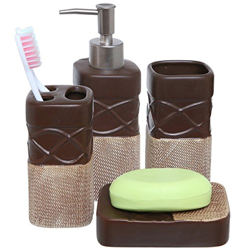 4 Piece Brown Bathroom Accessories Set with Toothbrush Holder, Tumbler, Soap Dish & Liquid Soap Dispenser by MyGift