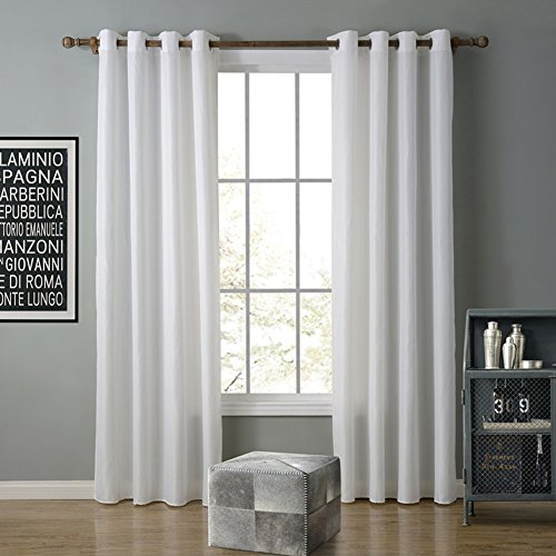 JackLook Solid Color Blackout Grommet Curtains Room Darkening Drapes 2 Panels 55″x94″ White
