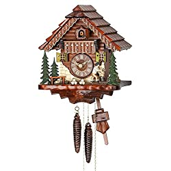 German Cuckoo Clock 1-day-movement Chalet-Style 9.00 inch - Authentic black forest cuckoo clock by Hekas