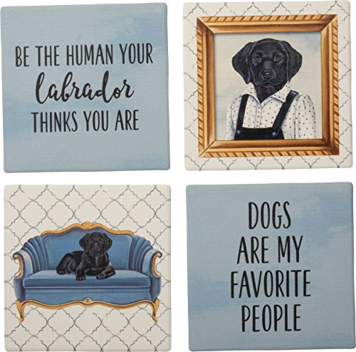 Fun Coaster Set of 4 - Some of My Favorite People are Dogs (Black Lab)