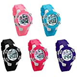JewelryWe 5PCS Wholesale Kids Cute Digital Watches 3ATM Waterproof Date Alarm Backlight Black Wrist Watch for Girls and Boys