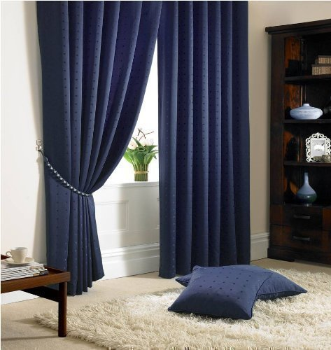 STUNNING NAVY BLUE CHECK PENCIL PLEAT FULLY LINED CURTAINS 46\