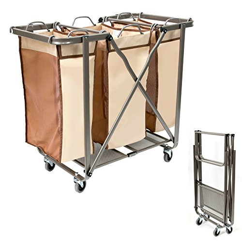 SEINA Heavy Duty Foldable Laundry Sorter with Removable Odor Resistant Bags Use, No Assembly Required, Folds Flat for Easy Storage-Super Smooth Glide Wheels-(Brown)