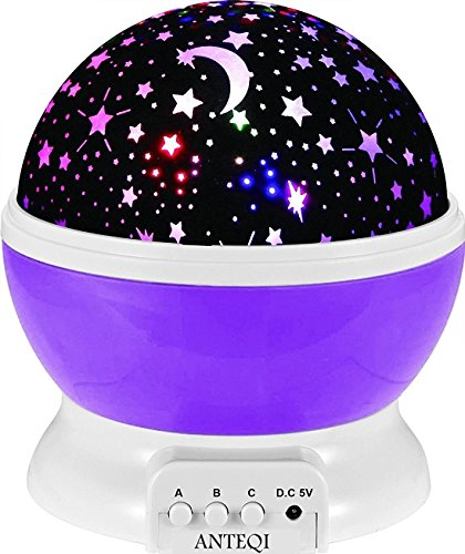 Sun And Star Lighting Lamp 4 LED Bead 360 Degree Romantic Room Rotating Cosmos Star Projector With 4.9 FT USB Cable, Light Lamp Starry Moon Sky Night Projector Kid Bedroom Lamp
