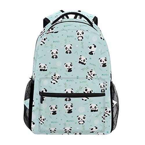 Backpack Travel Cartoon Panda Bamboo School Bookbags Shoulder Laptop Daypack College Bag for Womens Mens Boys Girls