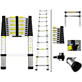 Todeco - Telescopic ladder, Foldable Ladder - Maximum load: 330 lbs - Material: Aluminium alloy - 10.5 feet, EN 131