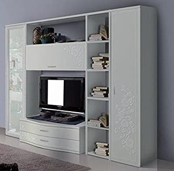 Parete attrezzata contemporanea con rilievo decorato: Amazon.it ...