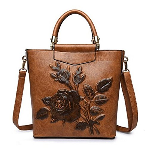 Brown Women Large Embossing Handbag Hobo Leather Retro Bag Floral Tote Embroidery Printing Designer Bags Bucket wUaRr6wq