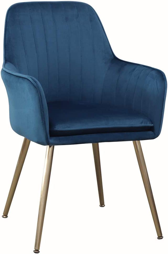Accent Living Room Leisure Armchair Velvet Fabric Dining Chair with Golden Metal Legs (Dark Blue)