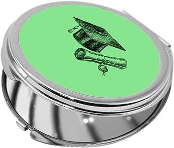 مرآة جيب، بتصميم شعار يوم التخرج - اخضر، شكل دائري