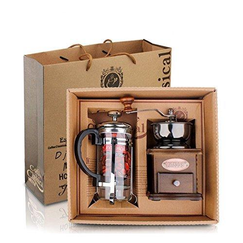 DeFancy Vintage Style Manual Coffee Grinder Hand Grinder & French Press Coffee/tea Maker Set in Gift Package ()