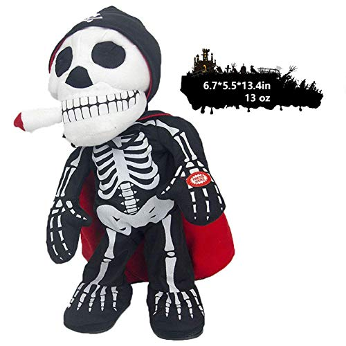Little-Sweet Animated Skeleton Halloween Decoration Prop Freaky Skeleton Ghost Reaper Electric Toy Haunted House Decoration Skeleton Toy Glowing Red Eyes (Cigar)