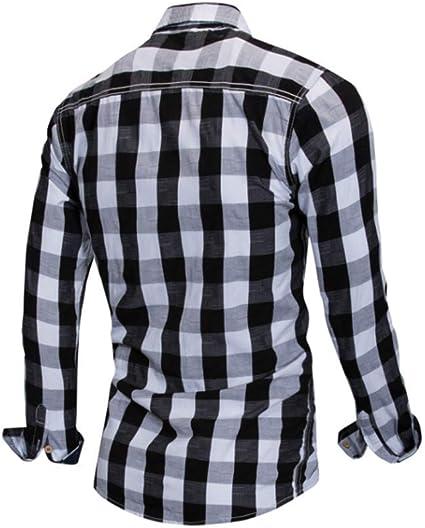 Camisa Casual de Manga Larga de algodón Camisa a Cuadros Tejida de Color Nuevo Blanco y Negro M: Amazon.es: Ropa y accesorios