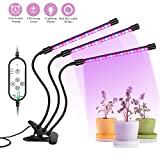 Grow Lights, [2018 UPGRADED] Auledio IP66 waterproof Three Head Auto On/Off Timing 360° Flexible LED Plant Grow Lamp, 5 Adjustable Luminious Levels and 12 Switch Modes for Indoor Plants and Hydroponic