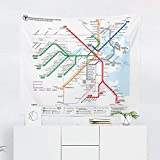 Boston MBTA Subway Train Map Tapestry Wall Hanging Massachusetts Bay Tapestries Dorm Room Bedroom Decor Art - Printed in the USA - Small to Giant Sizes