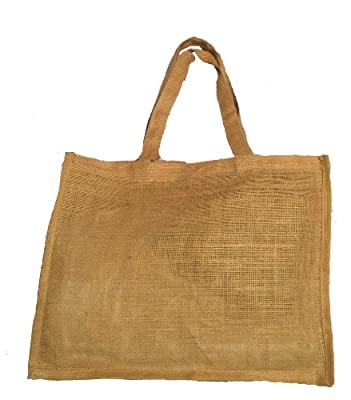 "Natural Color Jute Burlap Shopping tote bag with jute handles unlaminated from inside size 16""W x12""H x 4""Gusset Eco-friendly Reusable Bag - CarryGreen Bags"