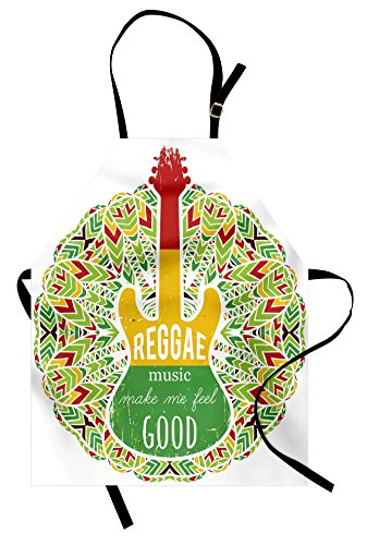 Ambesonne Rasta Apron, Reggae Music Makes Me Feel Good Quote Jamaican Island Culture Iconic Guitar, Unisex Kitchen Bib Apron with Adjustable Neck for Cooking Baking Gardening, Green Yellow and Red