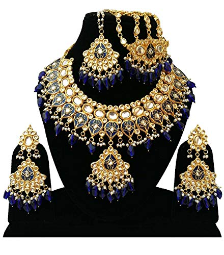Set Designer Pearl - Retailbees Finekraft Meena Kundan Indian Bridal Wedding Designer Gold Plated Pearls Choker Necklace Jewelry Set