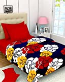 Casa Copenhagen Red Yellow And White Floral Print Reversible Twin Size Bedspread Coverlet Quilt Blanket