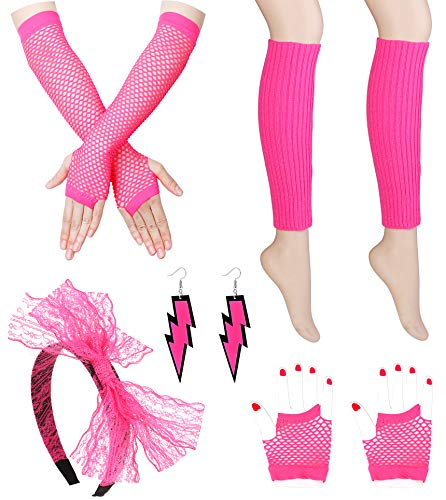 FIBO STEEL Women's 80s Outfit Costume Accessories for Women Girls Neon Earrings Fishnet Gloves Leg Warmers Sets Pink ()