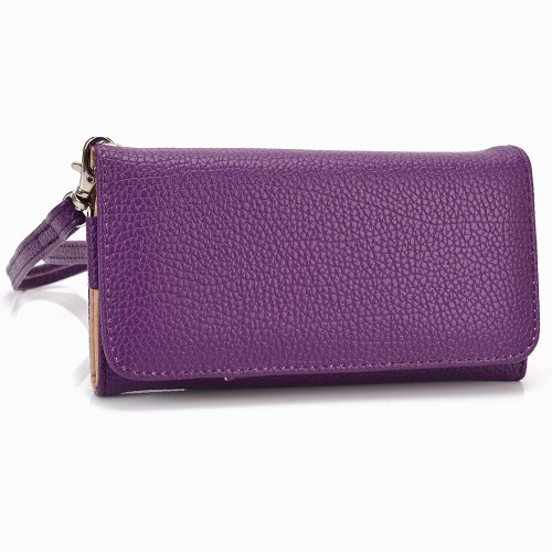 Smartphone Wallet Case fits Gigabyte Gsmart Tuku T2 with Credit Card Holder Universal Fit (Purple) + NextDIA Velcro Cable