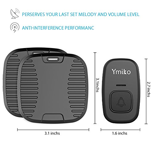 Ymiko Wireless Doorbell, 1500ft 100% Door Bell Waterproof Chime Kit W/2 Plug-in Receivers-CD Quality Sound and LED Flash-30 Melodies, BLACK