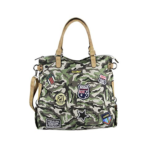 OBC Only-Beautiful-Couture - Bolso al hombro para mujer beige beige ca.: 47x40x19 (BxHxT) Army-Grau