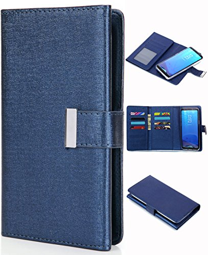 Galaxy Note 8 Case, Galaxy Note 8 Wallet Case, Crosspace PU Leather Flip Holster Cover Magnetic Detachable Foldable Case Protective Card Holder for Samsung Galaxy Note 8 Blue