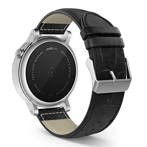 MoKo Band Compatible with Samsung Gear S2 Classic/Galaxy Watch 42mm/Galaxy Watch Active/Gear Sport/Garmin Vivoactive 3/Forerunner 645, Leather Crocodile Pattern Replacement Strap - Black