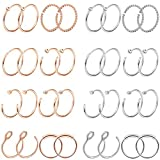 Jstyle 28-32Pcs 20G Nose Rings Hoop Stainless Steel Nose Ring Studs Piercing Hoop Tragus Cartilage Helix Ear Piercing Jewelry 8mm
