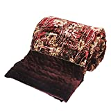Little India Ethnic Floral Style Double Bed Maroon Velvet Quilt 405